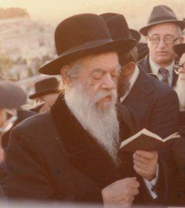 רבי שמואל אליהו טאוב ממודז'יץ באמירת תהלים על קבר אביו רבי שאול ידידיה ממודז'יץ בהר הזיתים
